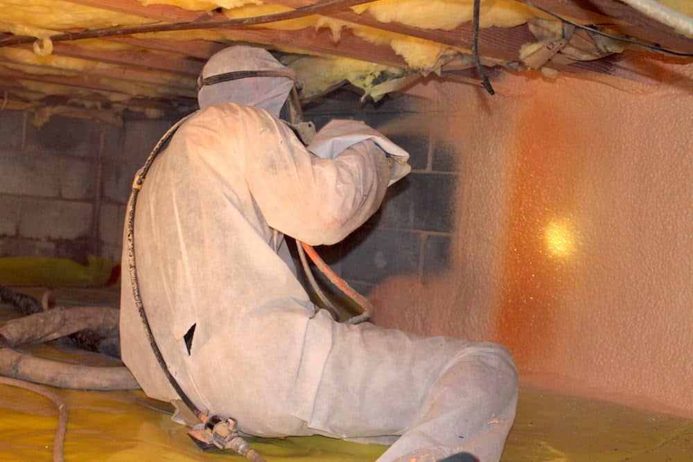 Adding spray foam insulation to the crawl space walls